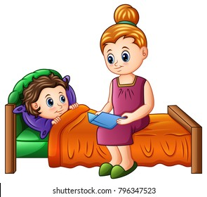 Cartoon mother reading bedtime story to her son before sleeping
