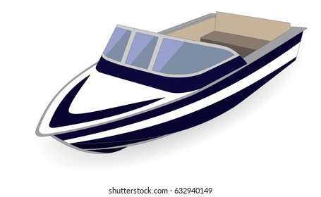 Cartoon motor boat isolated on white, vector illustration