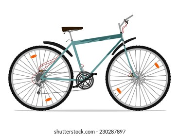Cartoon mountain bike. Vector illustration without gradients on one layer.