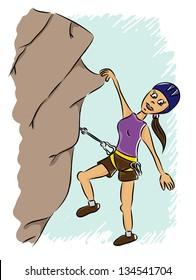 Cartoon mountain climber - woman (vector)