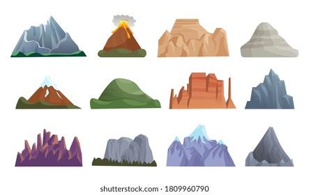 Cartoon mountain icon. Hill top, mountain peak, erupting volcano, iceberg, rock ridge, cliff crest with stone cartoon icon set on white. Vector rocky natural landscape element illustration