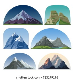Cartoon mountain side vector landscapes. Outdoor hill tops isolated collection. Mountain landscape hill peak, rock and snow illustration