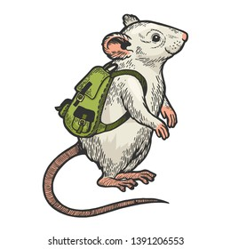 Cartoon mouse with backpack color sketch engraving vector illustration. Scratch board style imitation. Black and white hand drawn image.