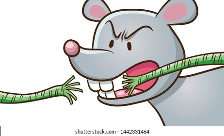 Cartoon The Mouse Biting rope. For Aesop fairy fable tale The Lion and the Mouse illustration.
