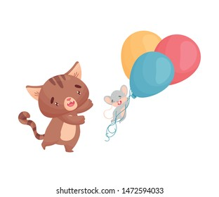 Cartoon mouse and cat with balloons. Vector illustration on white background.