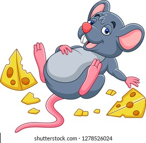 Cartoon mouse with a cheese and full belly