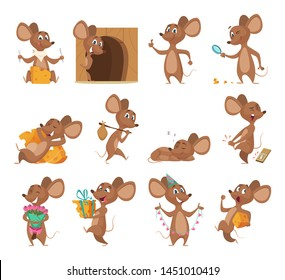 Cartoon mouse. Funny little animals vector lab mice with cheese collection pictures. Mouse animal, little rodent adorable, happy cheerful mascot illustration