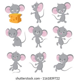 Cartoon mouse. Gray mice in different poses. Cute wild rat animal vector characters. Wild cute mouse and rat, rodent mascot illustration