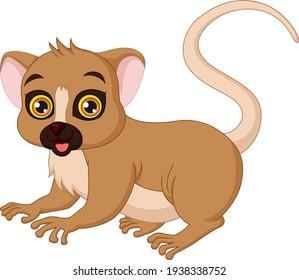 Cartoon mouse lemur on white background