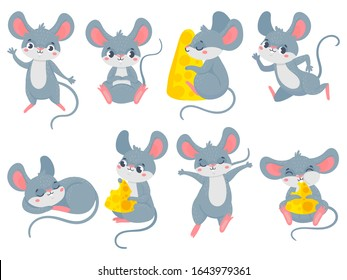 Cartoon mouse. Little cute mouses, funny small rodent pet and mice with cheese vector set. Collection of adorable friendly rats running, eating, sleeping. Bundle of happy domestic animals or pests.