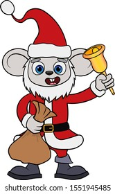 Cartoon mouse in a red Santa Claus costume with a bell and a bag with crawfish in hand. symbol of 2020. isolated on white background vector