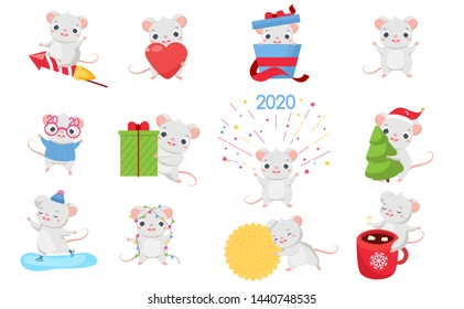 Cartoon mouse set. Cute rats in different poses and situations. Big collection of funny rodent animal for 2020 chinese new year design