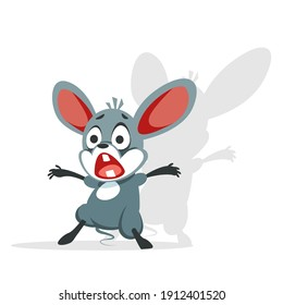 The cartoon mouse is terrified. The little rat shuddered and screamed in fright. Vector illustration of a character isolated on a white background.