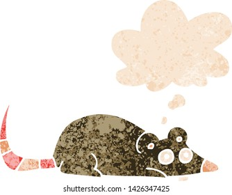 cartoon mouse with thought bubble in grunge distressed retro textured style