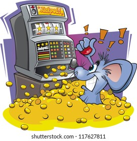 Cartoon mouse wins big on a slot / fruit machine