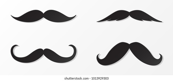 Cartoon moustaches - set of elements for photobooth or barber shop. Vector.