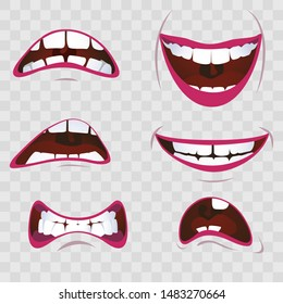 Cartoon mouth with emotions - joy and sadness, resentment and shock, joy and cry, on a transparent background
