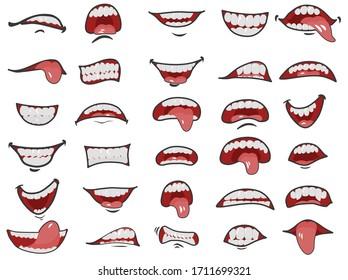 Cartoon mouth set. Cartoon smile variation