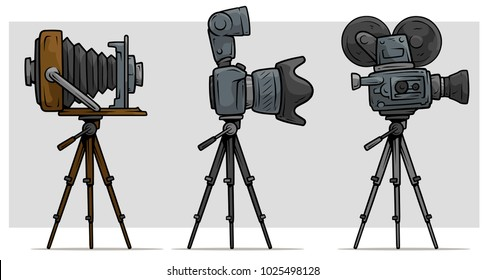 Cartoon movie and photo camera on tripod set. Digital and vintage. Vector icon set.