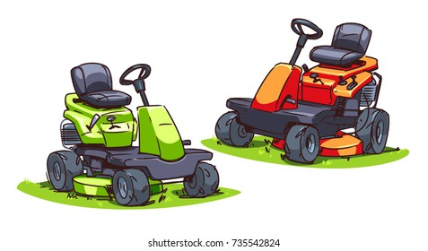 Riding lawn mower images stock photos vectors shutterstock cartoon mowers isolated on white background publicscrutiny Image collections