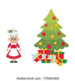 cartoon mrs santa with christmas fir tree