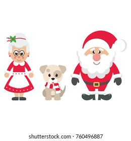 cartoon mrs santa and santa claus with winter dog