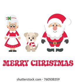 cartoon mrs santa and santa claus with winter dog and text