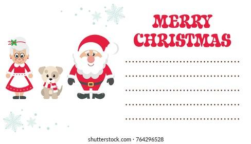 cartoon mrs santa and santa claus with winter dog christmas card