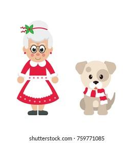 cartoon mrs santa and winter dog