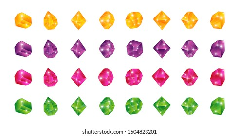 Cartoon multicolor gems. Gem yellow green blue pink stones. Vector illustration jewels diamonds topaz stone emerald ruby sapphire isolated on white background for game ui