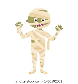 Cartoon mummy monster character, Halloween costume vector isolated on white