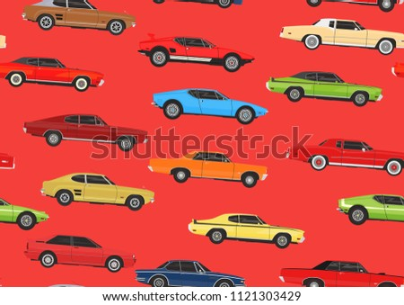Cartoon Muscle Cars Seamless Pattern Background Stock Vector