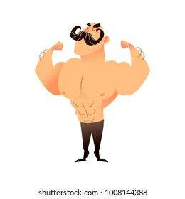 Cartoon muscular brutal man with a mustache. Funny athletic guy. Bald man proudly shows his muscles in strong arms. Vector flat illustration of an athlete or circus performer. Strongman character
