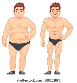 Cartoon muscular and fat man, guy before and after sports. weight loss and diet vector lifestyle concept