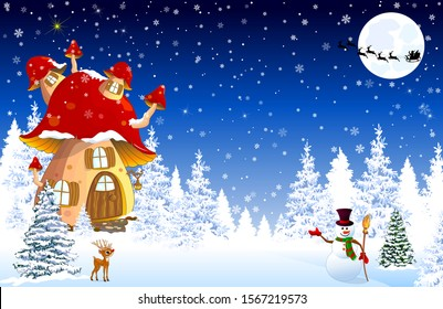 Cartoon mushroom house. Winter. Snow covered forest. Snowman welcomes. Little fawn. Winter night. Silhouette of Santa Slaus on a sleigh against the background of the night sky and the moon.