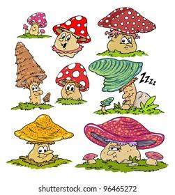 Cartoon Mushrooms Characters -Funny Mascots