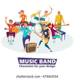 Cartoon music band. Concept music character design. Vector illustration