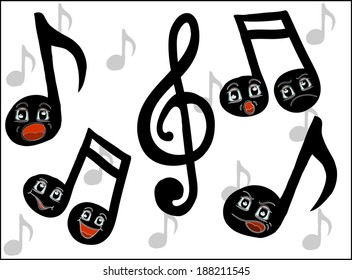 Cartoon music notes with funny faces