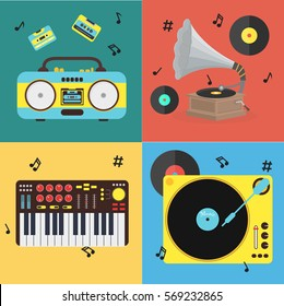 Cartoon Musical Instrument Set - Old Gramophone, Boombox, Cassettes and Synth or Music Keyboard Flat Design Style . Vector illustration