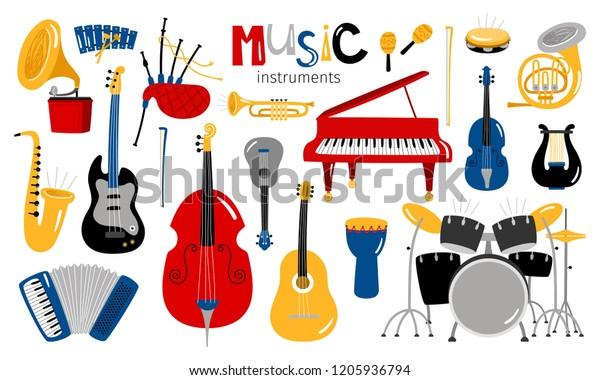 Image Vectorielle De Stock De Instruments De Dessin Anime Icones Vectorielles 1205936794