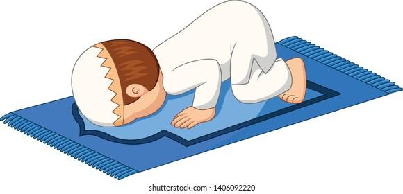 Cartoon Muslim boy praying on the rug