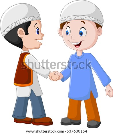 cartoon muslim boys shaking hands stock vector royalty free rh shutterstock com shaking hands cartoon picture shaking hands cartoon pic