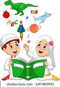 Cartoon Muslim kids reading book education concept