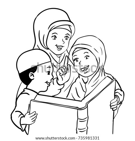 Cartoon Muslim Mother Son Daughter Read Stock Vector Royalty Free