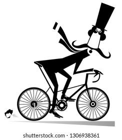 Cartoon mustache man rides on the bike isolated illustration. Cartoon mustache man in the top hat rides on the bicycle black on white illustration