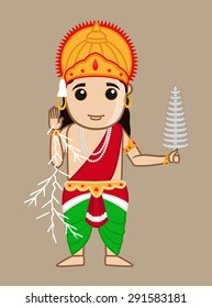 Cartoon Mythological Hindu Indra God