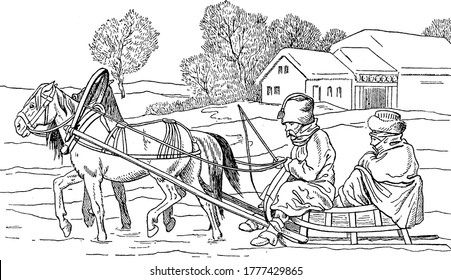 Cartoon of Napoleon returning to home in Horsecart, vintage line drawing or engraving illustration.