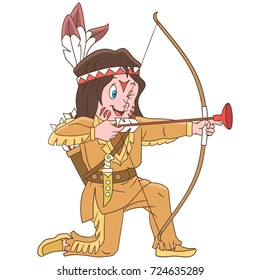 Cartoon native american indian boy with bow and arrow. Colorful book page design for kids and children.