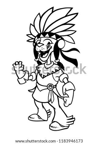 Cartoon Native American Indian Character Illustration Stock Vector