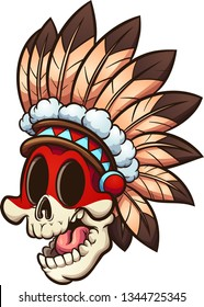 Cartoon Native American skull  with feather headdress clip art. Vector illustration with simple gradients. All in a single layer.